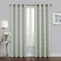 Quinn Geo 95-Inch Grommet 100% Blackout Window Curtain Panel in Green