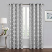 Quinn Geo 63-Inch Grommet 100% Blackout Window Curtain Panel in Grey