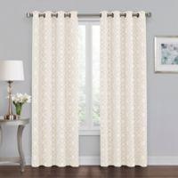Quinn Geo 84-Inch Grommet 100% Blackout Window Curtain Panel in Linen