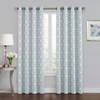 Quinn Geo 84-Inch Grommet 100% Blackout Window Curtain Panel in Blue