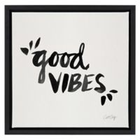 """""""Good Vibes"""" 14-Inch Square Framed Canvas Wall Art"""