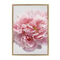 Pink Flower on Grey 23-Inch x 33-Inch Framed Canvas Wall Art