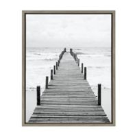 Wooden Pier in Surf 18-Inch x 24-Inch Framed Canvas Wall Art