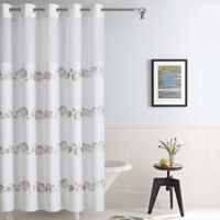 HooklessR Seashell Fabric 71 Inch X 86 Shower Curtain In Taupe