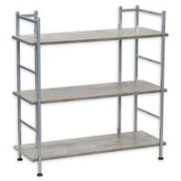 Household Essentials® Wide Metal 3-Tier Shelf for Storage and Organization in Faux Concrete