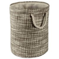 Design Imports Tweed Small Round Paper Storage Bin in Grey