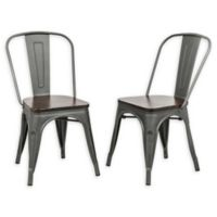 Carolina Forge Stack-able Ash Dining Chair in Pewter/elm