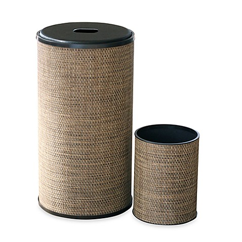 1530 Lamont Home Roxie Round Hamper and Waste Basket Set in Brown