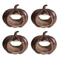 Bardwil Linens Carved Pumpkin Napkin Rings in Brown (Set of 4)