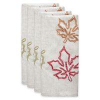 Bardwil Linens Stitched Maple Leaf Napkins in Beige (Set of 4)
