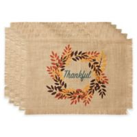 "Bardwil Linens ""Thankful"" Placemats in Khaki (Set of 4)"