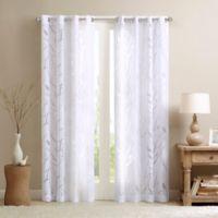 Madison Park Averil Sheer Bird 84-Inch Grommet Top Window Curtain Panel in White