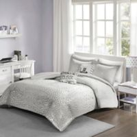 Intelligent Designs Zoey Metallic Reversible Full/Queen Duvet Cover Set in Grey/Silver