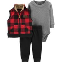 bebfe8cfaef5 carter s® Size 6M 3-Piece Buffalo Plaid Little Vest Set