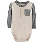 OshKosh B'Gosh® Size 0-3M Henley Bodysuit in Ivory/Grey