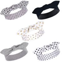 Hudson Baby® Little Treasure Hearts Size 0-24M 5-Pack Headbands in Black/Gold