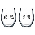 Luminarc Yours/Mine Stemless Wine Glasses (Set of 2)