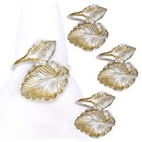 Metal Leaf Twine Napkin Rings in Silver (Set of 4)