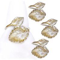 Metal Leaf Twine Napkin Rings in Silver (Set of 4)