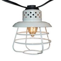 White Caged Metal Café Electric String Lights (10 Lights)