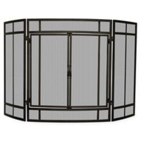 UniFlame® 3-Panel Block Folding Screen Sparkguard in Black
