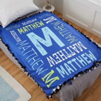 Repeating Boy Name Personalized Fleece Tie Blanket
