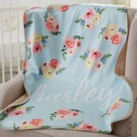 Floral Baby Personalized Premium Sherpa Blanket