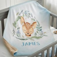 Woodland Deer Personalized Sherpa Baby Blanket