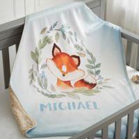 Woodland Fox Personalized Sherpa Baby Blanket