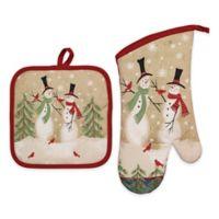 Tall Snowmen Cotton 2-Piece Potholder and Ovenmitt Set