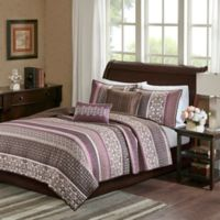 Madison Park Princeton 5-Piece Full/Queen Coverlet Set in Purple/Brown