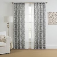 Morris Medallion 4-Pack 84-Inch Rod Pocket Window Curtain Panels with Voile in Grey