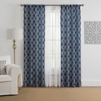 Morris Diamond 4-Pack 108-Inch Rod Pocket Window Curtain Panels with Voile in Indigo