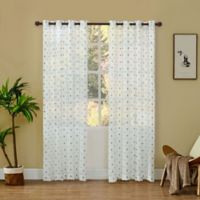 Dash Embroidered 95-Inch Grommet Sheer Window Curtain Panel in Navy