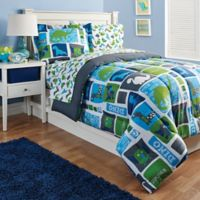 Kidz Mix Dinosaur 2-Piece Reversible Twin Comforter Set in Blue