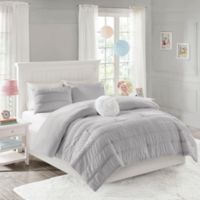 Mi Zone Bella Ruched 3-Piece Reversible Twin Comforter Set in Grey