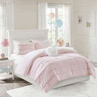 Mi Zone Bella Ruched 3-Piece Reversible Twin Comforter Set in Pink