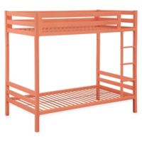 Walker Edison Twin-Over-Twin Bunk Bed in Coral