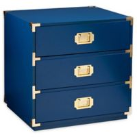 Southern Enterprises Campaign 3-Drawer Accent Table in Navy