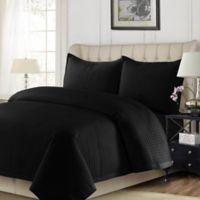 Tribeca Living Como King Quilt Set in Black