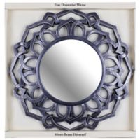 Decorative 24-Inch Round Framed Mirror in Black