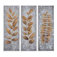 Bassett 42-Inch x 40-Inch Metallic Leaves Canvas Wall Art