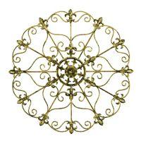 Medallion Fleur De Lis 16-Inch Round Metal Wall Art