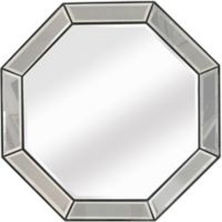 Beaded 44-Inch Octagon Wall Mirror in Silver Leaf