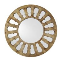 Forest Gate Solid Wood 32-Inch Round Wall Mirror in Barnwood