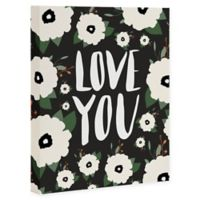 """Deny Designs """"Love You"""" Floral 8-Inch x 10-Inch Canvas Wall Art"""