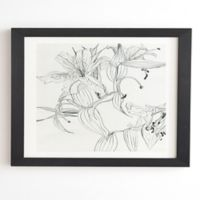 Deny Designs Pencil Lillies 14-Inch x 16.5-Inch Framed Wall Art