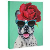 Deny Designs 16-Inch x 20-Inch Coco de Paris French Bulldog Turquoise Canvas Wall Art