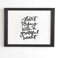 Deny Designs A Grateful Heart 8-Inch x 9.5-Inch Framed Wall Art