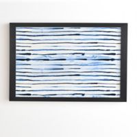 Deny Designs Indigo Ink Stripes 20-Inch x 20-Inch Framed Wall Art